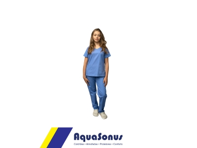 Pijama cirúrgico em brim leve - feminino - manga curta