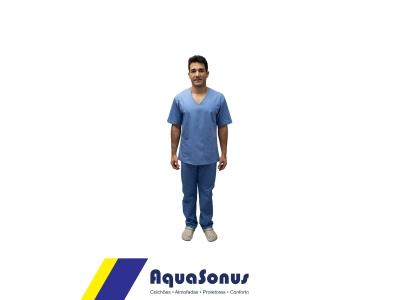 Pijama cirúrgico em brim leve - masculino - manga curta
