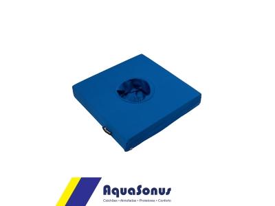 Cojín de espuma revestido de poliamida fría azul con orificio